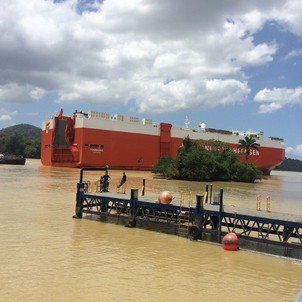 Car carrier ship in the Panama Canal