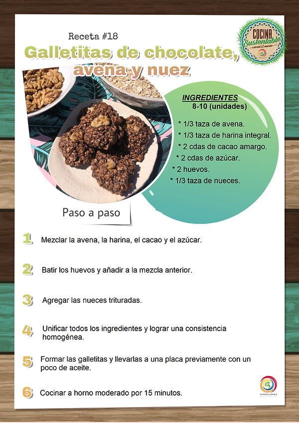 galletitas de chocolate, avena y nuez