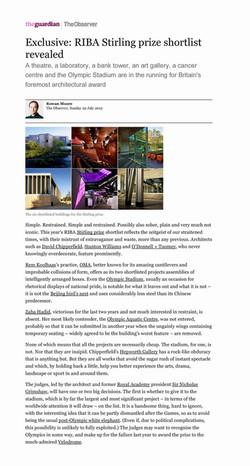 RIBA Stirling Prize shortlist reveal