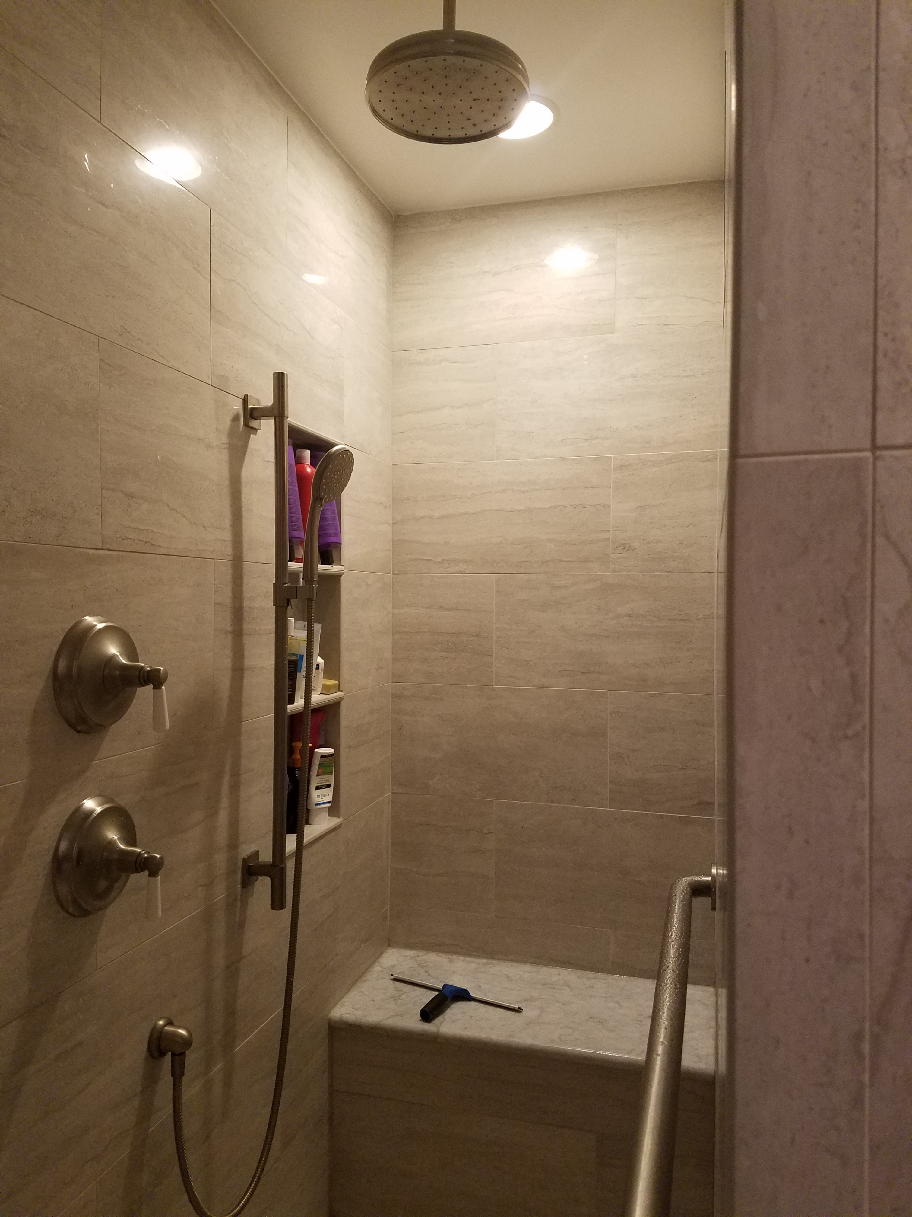 Walk-in shower, rainhead shower