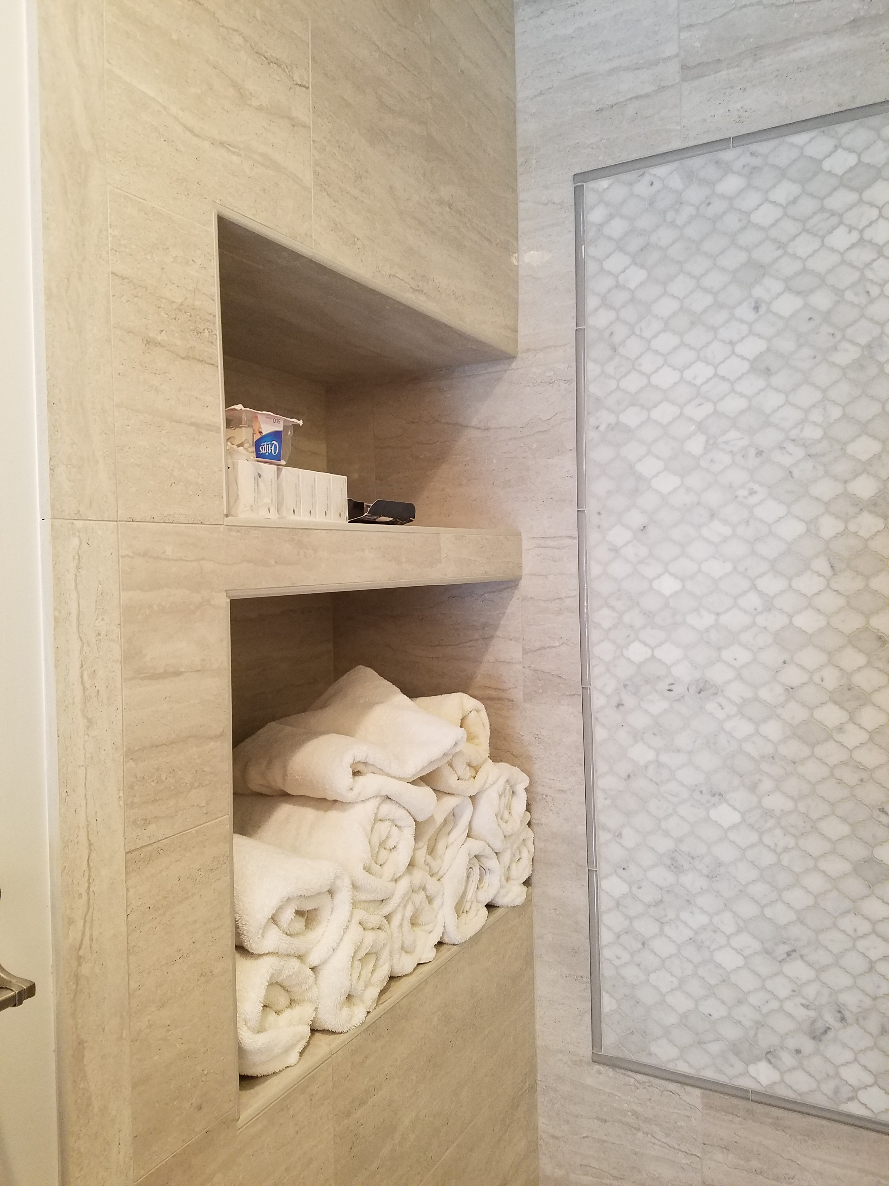 Recessed shelves in shower