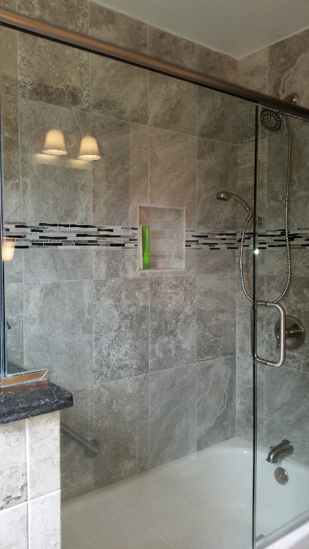 Contemporary, Gray shower tile