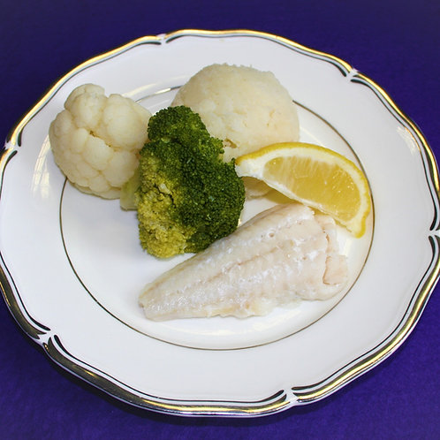 Mini Baked Cod with a Wedge of Lemon