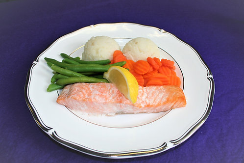 Baked Salmon with a Wedge of Lemon