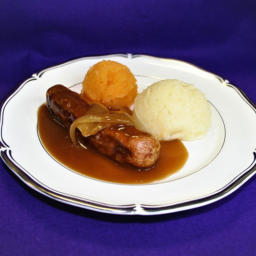 Mini Beef Sausages in Onion Gravy