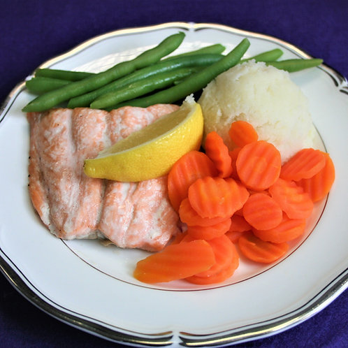Mini Baked Salmon with a Wedge of Lemon