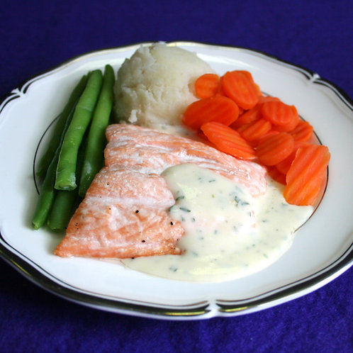 Mini Baked Salmon with Parsley Sauce
