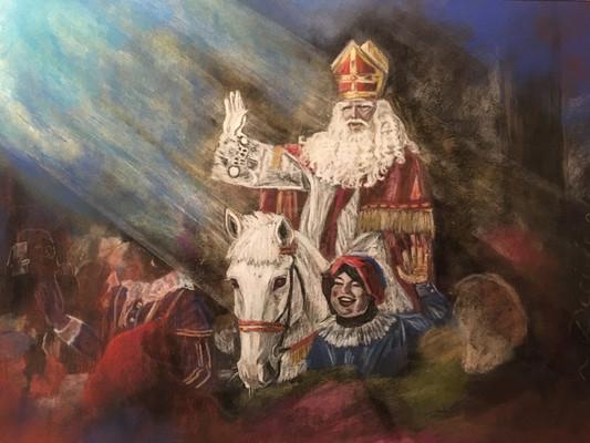 Amerigo en de Sinterklaasintocht 2018, 24x30cm pastel