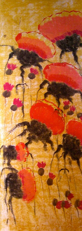 Anna Napoli, Red thistles, pastel painting on paper,cm 104x38 in 40x14