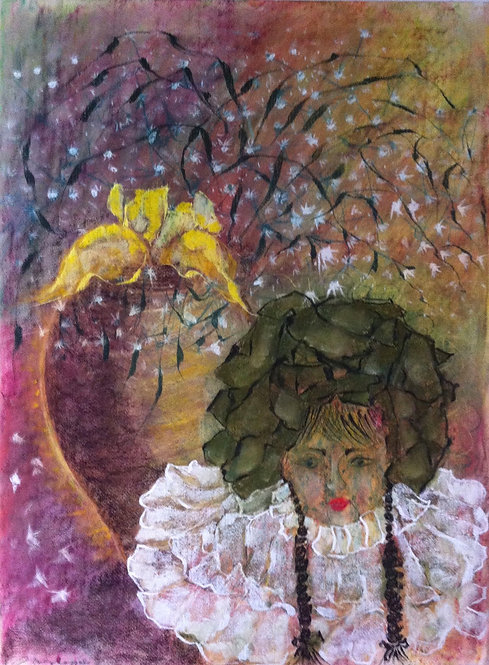 Anna Napoli, Josephine, pastel painting on paper,  cm 79x59 in 31x23
