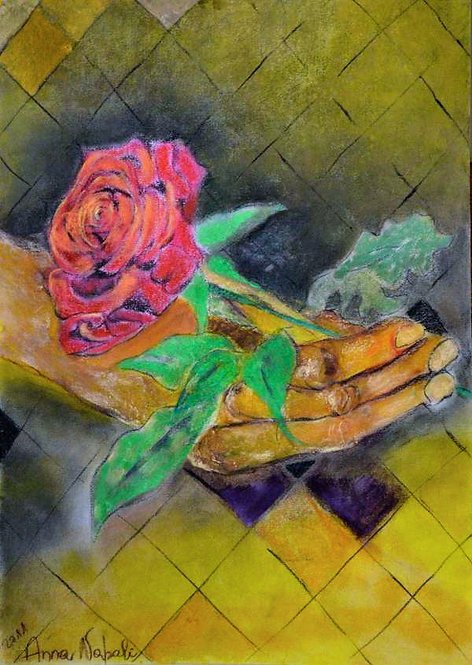 Anna Napoli, Hand with red rose 4,  pastel painting on paper, cm70x50 in27x19