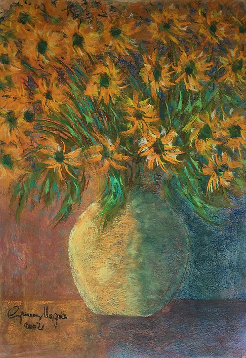 Anna Napoli, Vase of flowers, Pastel painting on paper,cm 70x50, 27x19 in