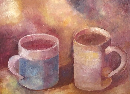 Anna Napoli, Two cups, oil painting on cardboard, cm 24x18 inches 9x7