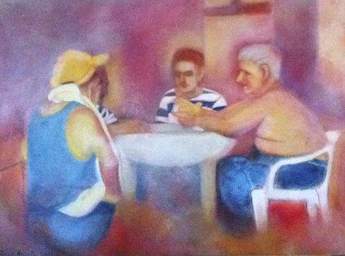 Anna Napoli, Card Players, acrylic painting on canvas, cm120x90