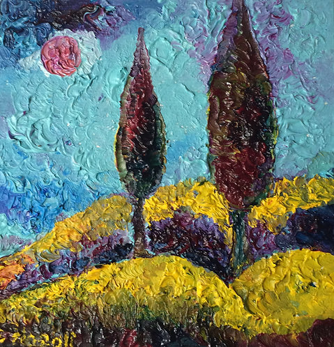 Anna Napoli, Two cypresses, original oil painting on wood, cm 14x14 in 5x5