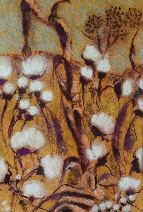Anna Napoli, Thistle's Wood, pastel painting on p.cm 47x32 inches 18x12