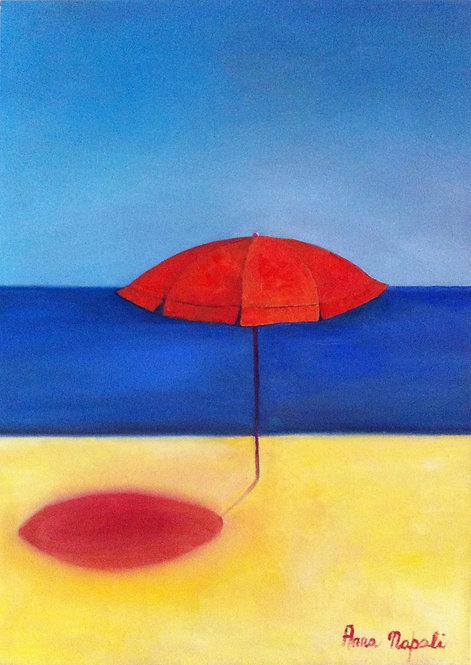 Anna Napoli, Red Sun Umbrella, oil painting on canvas, cm70x50 in27x19