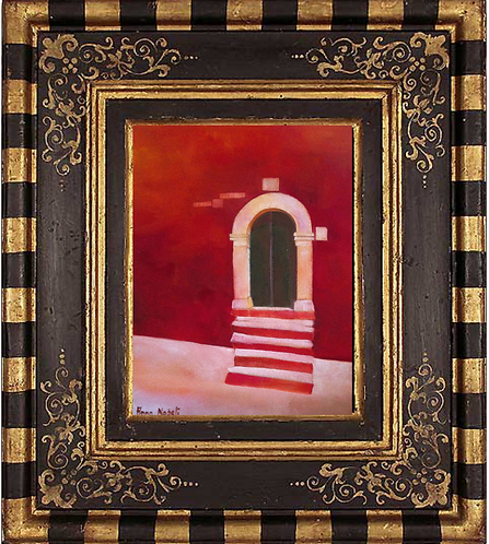 Anna Napoli, Old door with steps, oil painting on cardboard cm 40x35, in 15x13