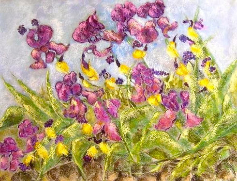 Anna Napoli, Iris of May 2, pastel painting on paper, cm 70x50 in 27x19