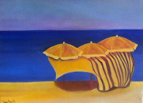 Anna Napoli, ThreeSun-Umbrella, oil painting on wood panel, cm70x50 in27x19