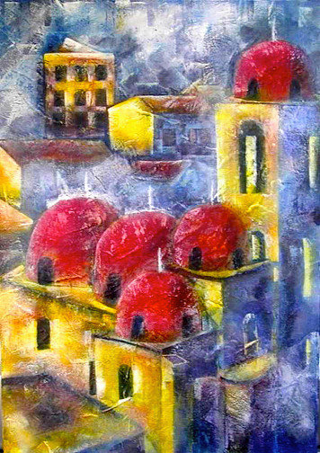 Anna Napoli, Red Domes, acrylic painting on canvas, cm100x70 in 39x27