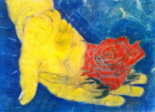 Anna Napoli, Hand with rose,original pastel painting on paper,cm 70x50 in 27x1