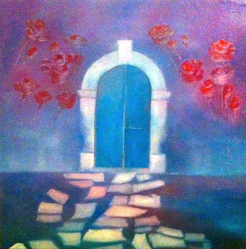 Anna Napoli, The door with rose, oil painting on canvas, cm70x70 in27x27