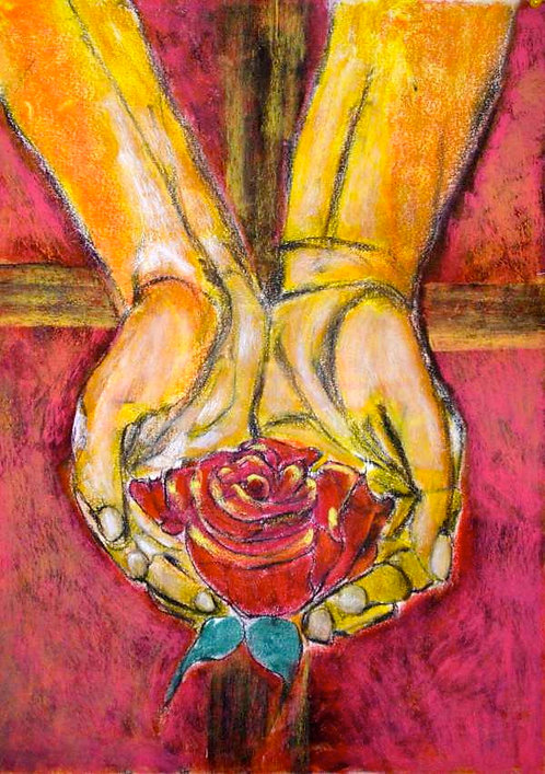 Anna Napoli, Hand with rose 1, original pastel painting on paper cm70x50 in27x19