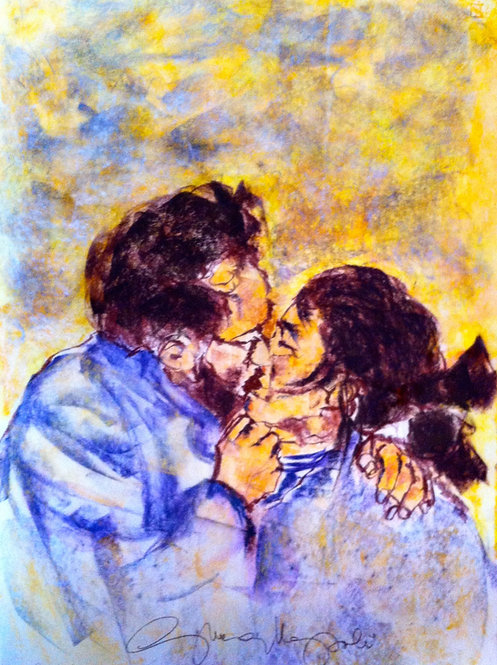 Anna Napoli, Lovers, pastel painting on paper, cm70x50 in27x19