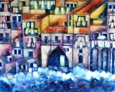 Anna Napoli, Houses on the sea, acrylic painting on canvas, cm100x80 in39x31