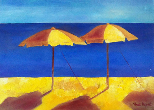 Anna Napoli, Two Sun-Umbrella, oil painting on canvas,cm70x50 in27x19
