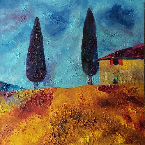 Anna Napoli, House with cypresses, oil painting on wood panel, cm 20x20 in 7x7