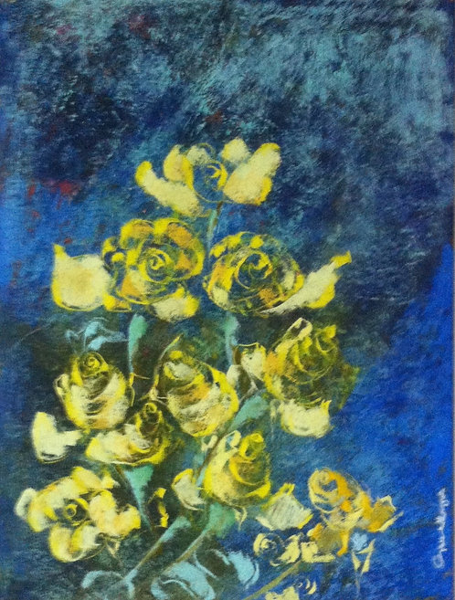 Anna Napoli,Yellow roses, pastel painting on paper,cm 74x59 in 29x23