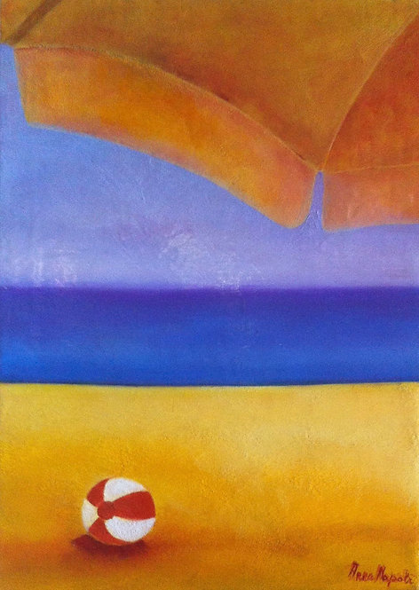 Anna Napoli, Ball on the beach, Oil painting on canvas, cm 70x50 in 27x19