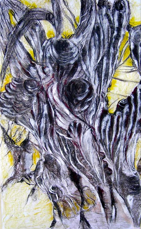 Anna Napoli, Olive Trunk 4, pastel painting on paper, cm 90x60 in 35x23