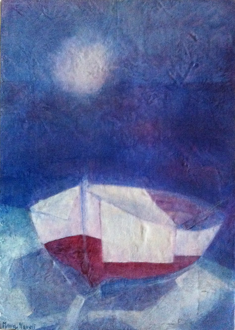 Anna Napoli, The boat, acrylic painting on canvas, cm 70x50 in 27x19