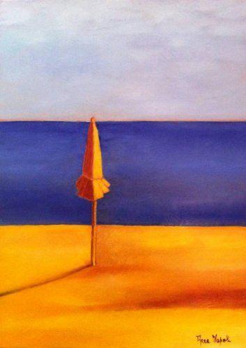 Anna Napoli, One sun-umbrella, original oil painting on canvas, cm70x50 in27x19