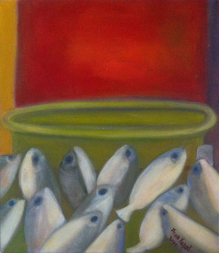 Anna Napoli, Fish Market1, oil painting on canvas, cm 40x35 in 15x13