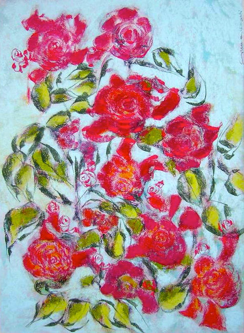Anna Napoli, Roses, pastel painting on paper, cm 70x50 inches 27x19