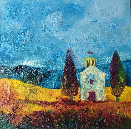 Anna Napoli, Small chapel with cypresses, oil painting on wood, cm 20x20 in 7x7