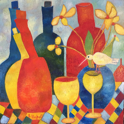 Anna Napoli, Bottles and glasses, oil painting on wood panel, cm 37x37, in 14x14