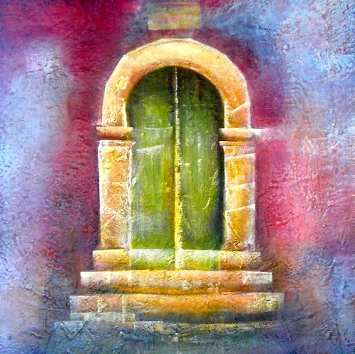 Anna Napoli,The door, acrylic painting on canvas, cm 70x70 in 27x27