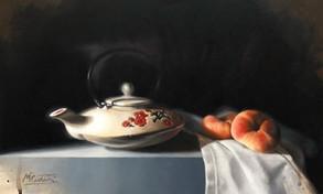 Japanese Tea Pot and Flat  Peaches