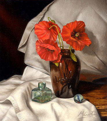 Still Life with Poppies and Inkwell Art Print