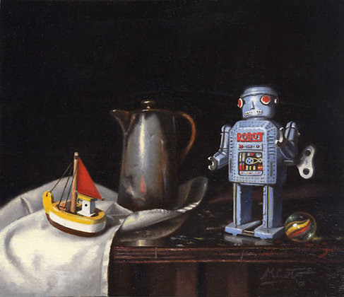 Still Life with Robot and Boat Art Print