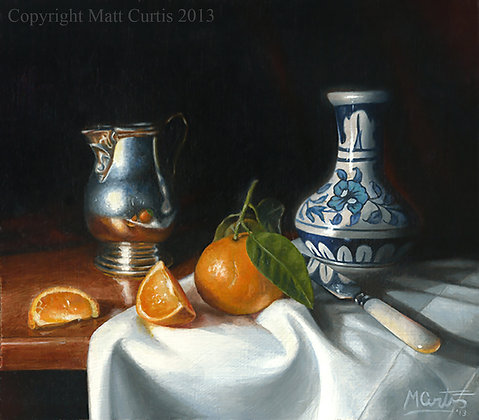 Still Life with Orange and Mexican Vase Print.