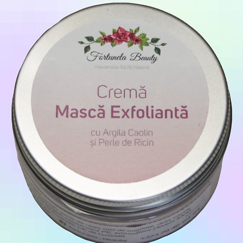 Crema Masca Exfolianta cu Argila Caolin si Perle de Ricin