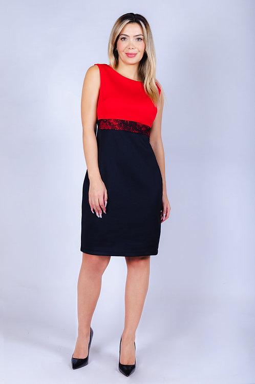 Vestido Bellísima Con Aplicación de Encaje. Negro Rojo.