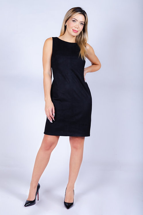 Vestido Bellísima de Gamuza Negro