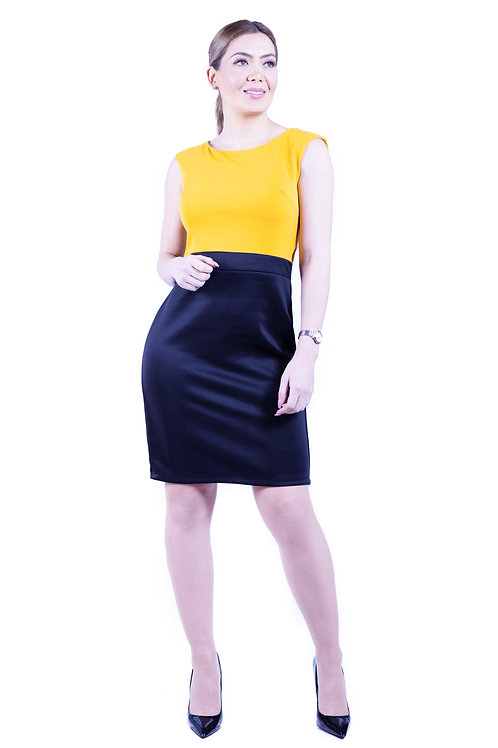 Vestido Manga China Negro/Amarillo Bellísima| VE-353